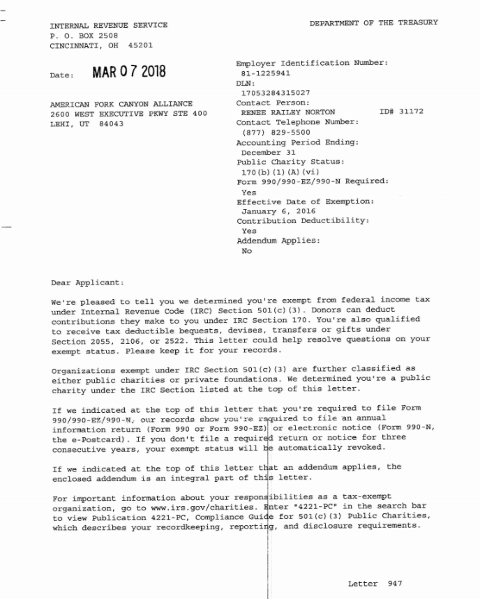 AFCA Approval Letter from IRS for 501c3 Status